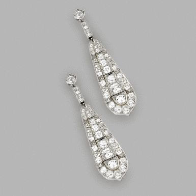 Pair of Platinum and Diamond Pendant-Earrings, Cartier, London, Circa 1930 - Sotheby's