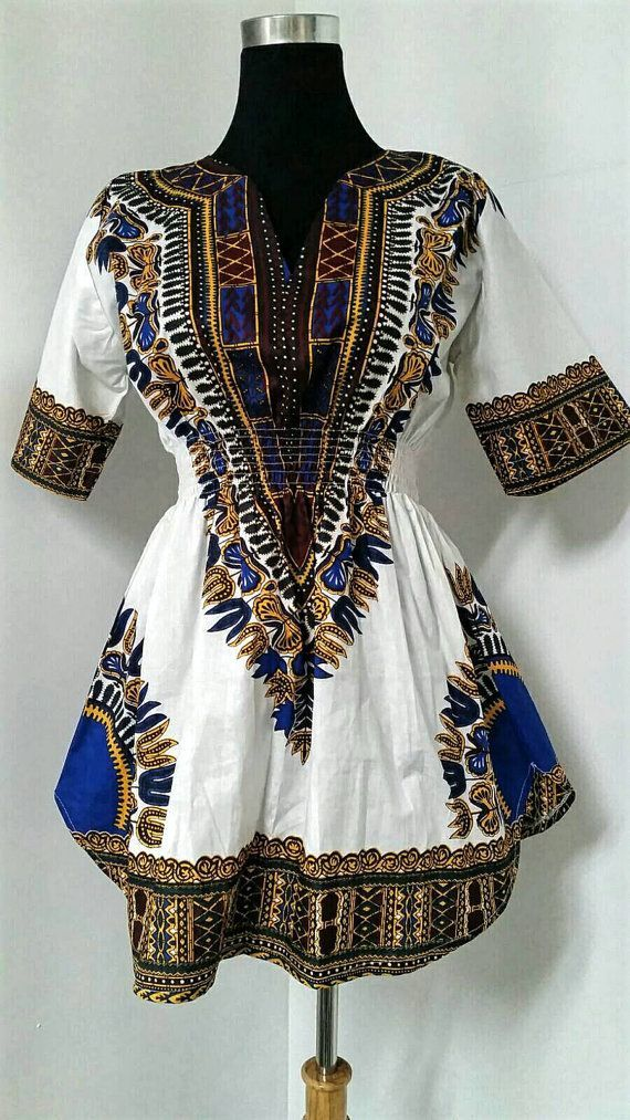 African Dashiki blouse, Elastic print Top, African fashion, tribal African top,Dashiki top white dashiki
