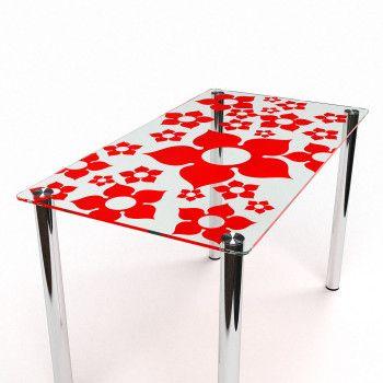 Cтеклянный обеденный стол БЦ-Стол Цветение S-1 Эко Прозрачный/Красный/Хром