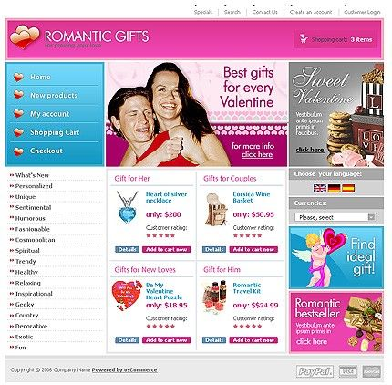 Gifts Presents osCommerce Templates by Di
