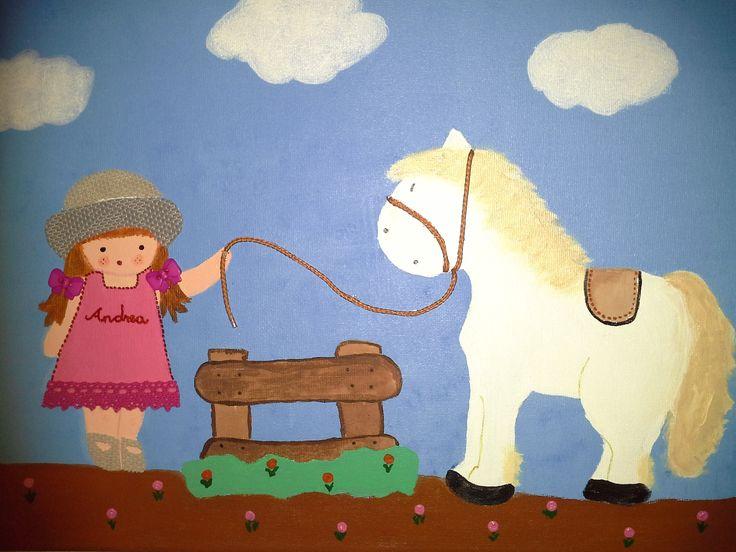 Andrea con su caballo blanco