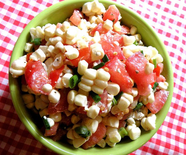 Fresh corn and tomato salad | Food... | Pinterest