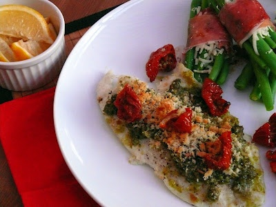Mrs Ellwood's Simple Life: Baked Tilapia with Pesto Crust and Prosciutto Green Bean Bundles