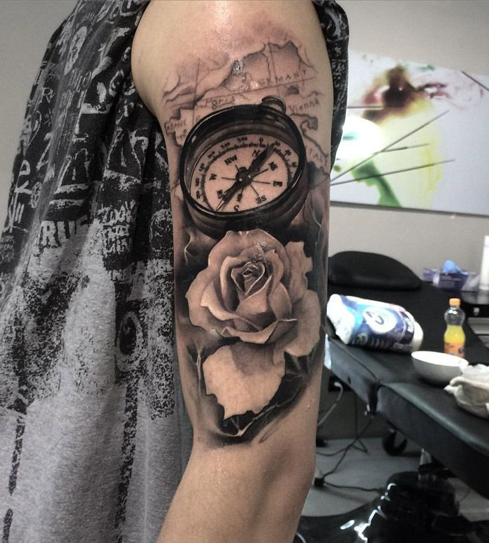 Best Tattoo Design Ideas: Compass, Rose & Map Realism Arm Tattoo