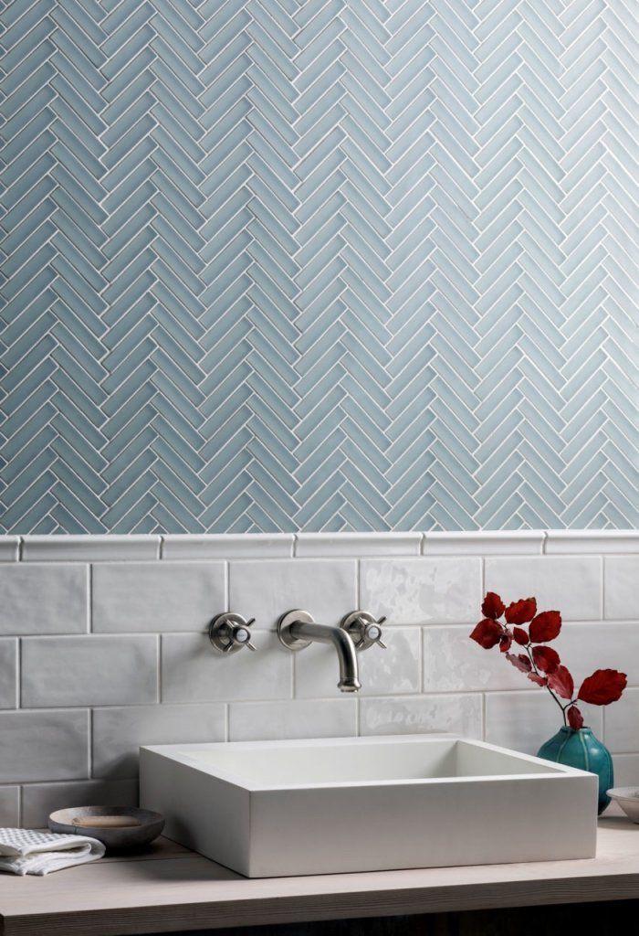 Carrelage Mural Salle De Bain Mosaique Chevrons Bleu Gris Credence