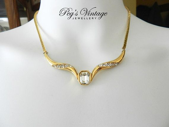 Vintage Rhinestone Gold Necklace / Choker Gold Tone