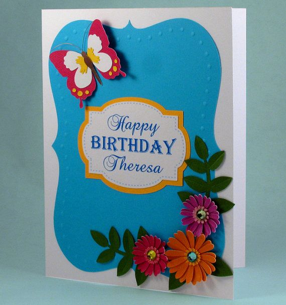 Personalized Birthday card handmade by PaperButterflyShoppe