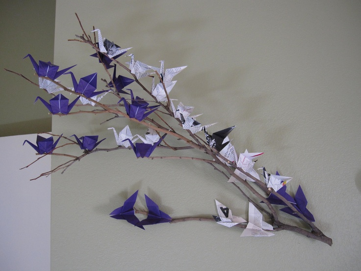 Origami Crane And Butterfly Wall Art Used Purple Paper Old Magazines