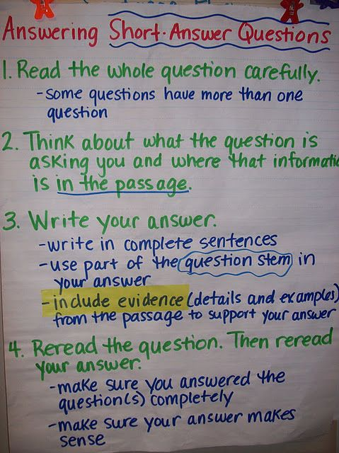 Teaching students how to answer short answer questions.: Reading Response, Shorts Answers, Answers Shorts Answ, Language Art, Anchor Charts, Test Prep, Shorts Answ Questions, Anchors Charts, Answers Questions