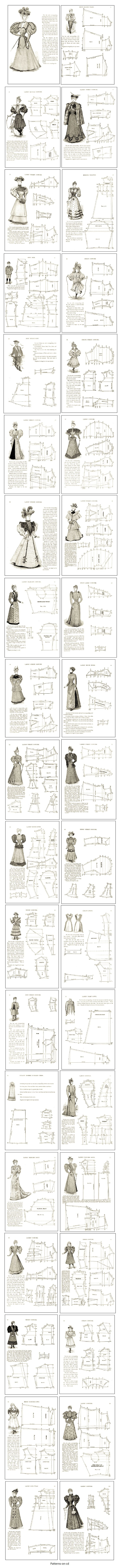 80 Patterns costume d'époque victorienne coupe Dress Making Guide sur CD