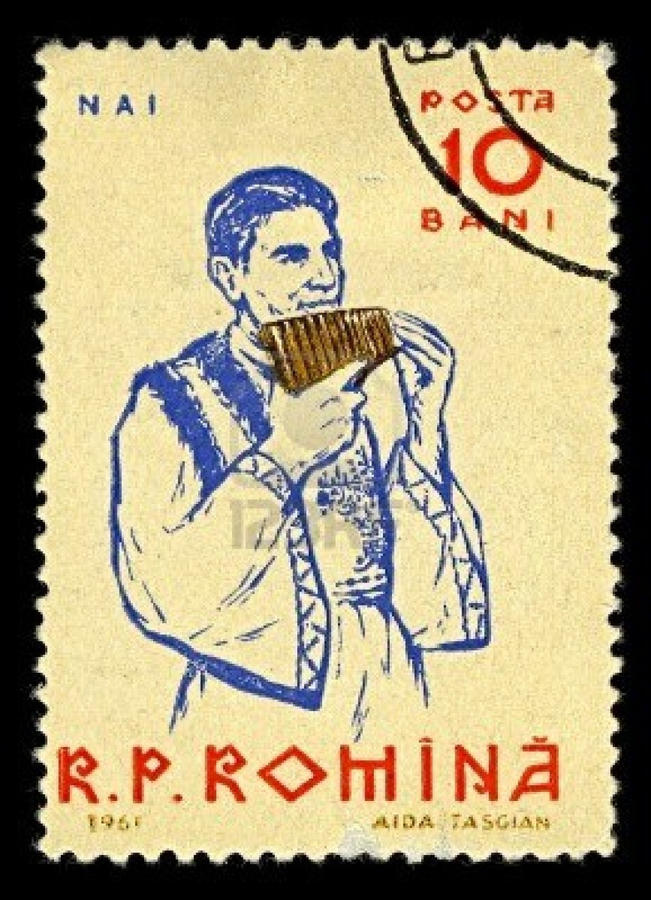 A stamp printed in ROMANIA shows image of The pan flute or pan pipe (also known as panflute or panpipes) is an ancient musical instrument based on the principle of the closed tube, circa 1961.