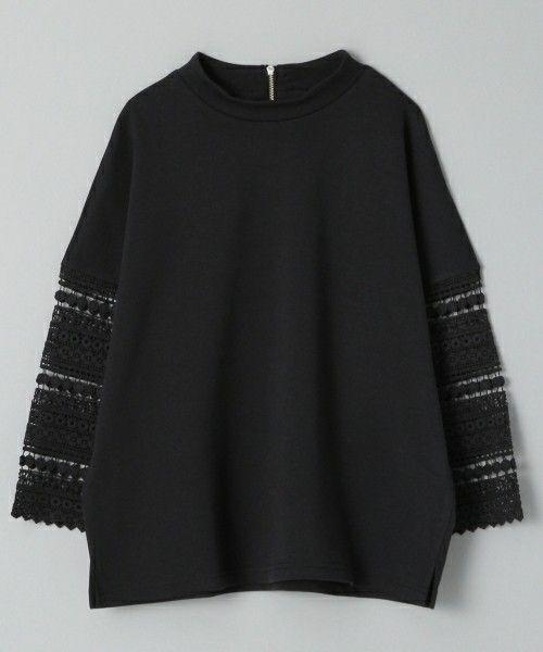 JEANASIS(ジーナシス)のソデレースプルオーバー8S/715401(Tシャツ/カットソー) ブラック