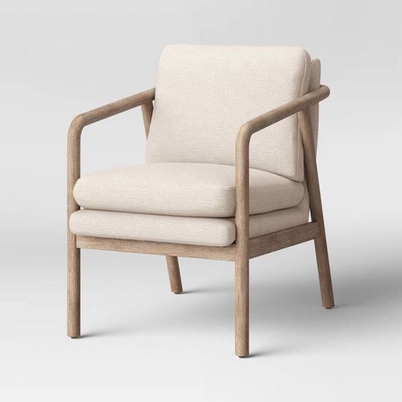 Tufeld Wood Armchair Beige Project 62, Accent Chairs With Wooden Arms