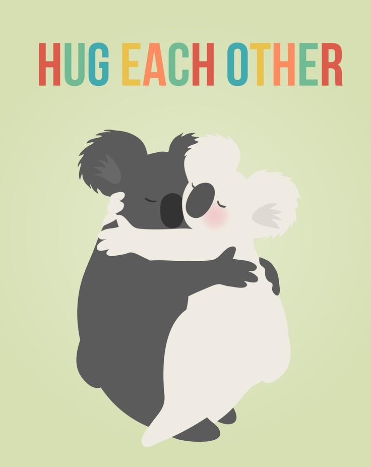 "Art print features hugging koala bears with rainbow lettered "" Hug Each Other"".  8"" X 10""."