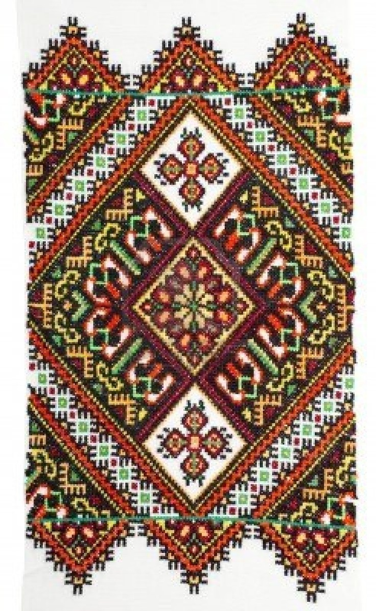 embroidered handmade Ukrainian cross-stitch pattern Stock Photo