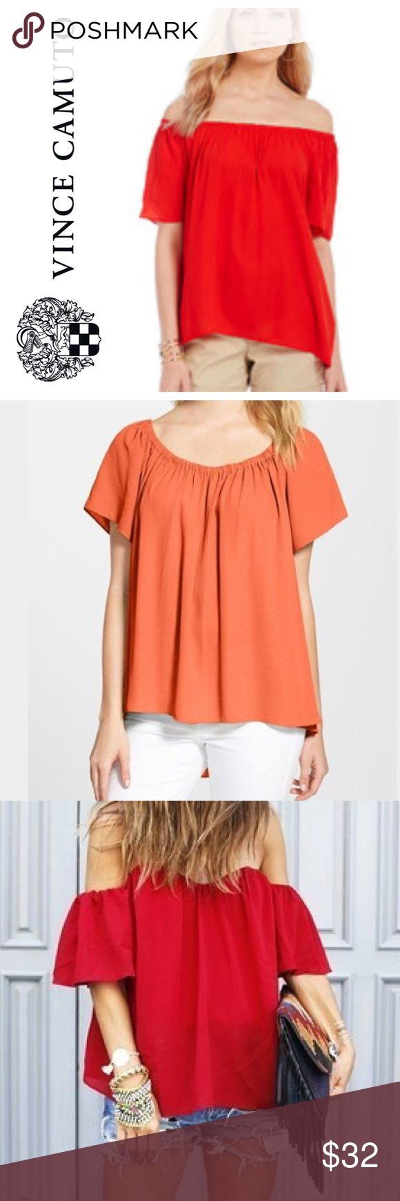 """Vince Camuto red off the shoulder blouse Size XS but could fit XS-L due to the flowy style. The elastic neckline is very stretchy and doesn't squeeze the skin and create """"fat rolls"""" above the elastic. It's very flattering and comfortable. Slight high/low cut and can be worn off the shoulders or on. Front length 20"""", back length 24.5"""". Would be really cute for July 4th! Pic 3 for styling only, not exact top. 100% polyester.  ❌no offers or trades, priced to sell  15% discount on bundles of 2…"""