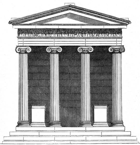 Plan: tetrastylos/amfiprostylos, porządek: joński, Czas budowy: 448/421-413 pne, Archiktekt: Kallikrates, Wymiary: stylobat 5,44 x 8,27 m, wysokość od stylobatu: 6,9 m. Niewielka świątynia zbudowana na platformie z prawej strony Propylejów na ateńskim Akropolu.