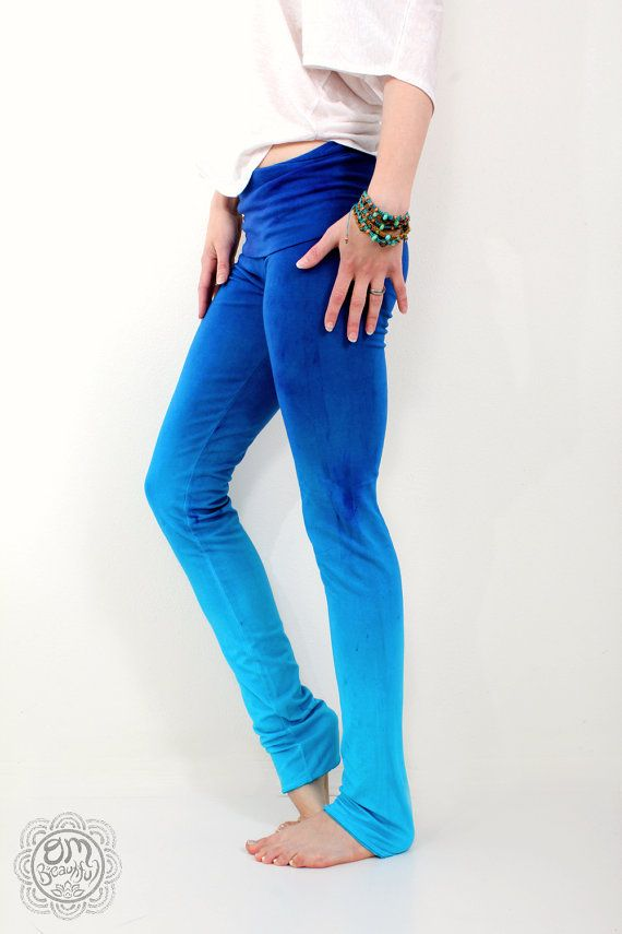 Hand Made Yoga Leggings Blue Ombre Athletic Pants by OmBeautiful