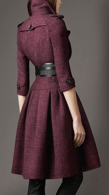 Full skirted stylish purple coat -Burberry