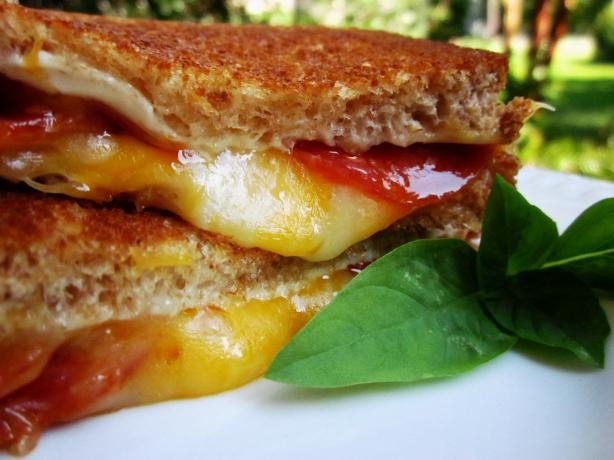 Easy Pepperoni Grill Cheese Sandwiches from Food.com:   So easy, so tasty. I keep the inexpensive packages of pepperoni on hand just for dressing up a normal grill cheese. You can use any cheese you have on hand, but DH and I like colby and american. Sauerkraught can also be added if desired as well as other bread types.