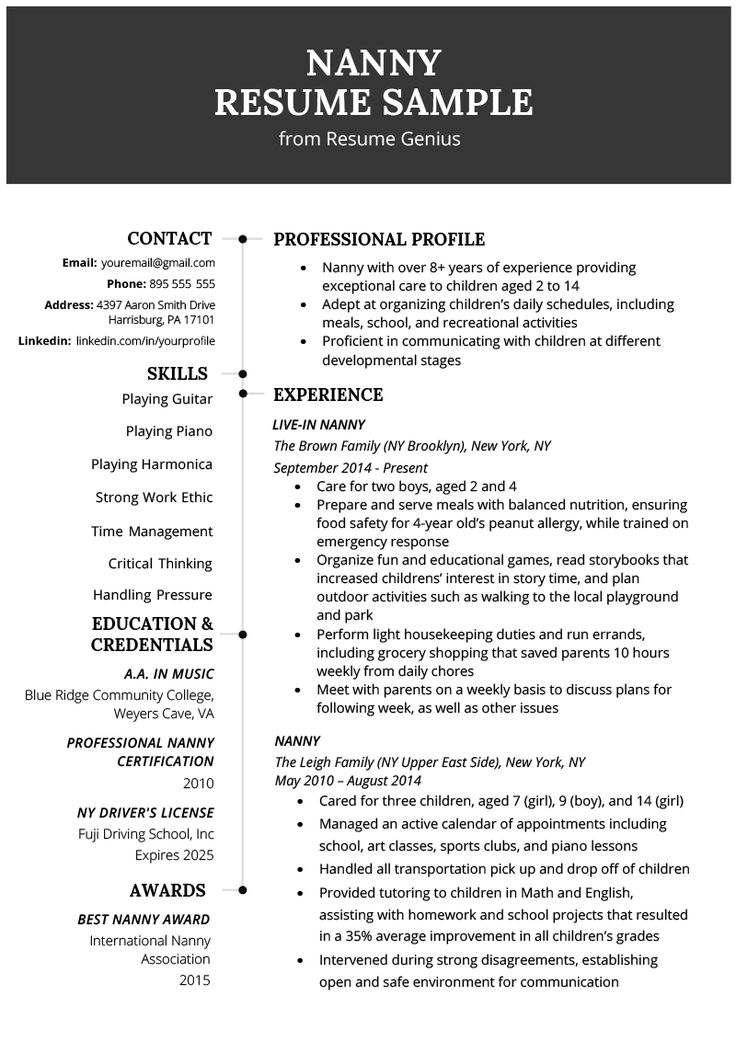 Nanny Resume Example & Writing Tips Nanny job description