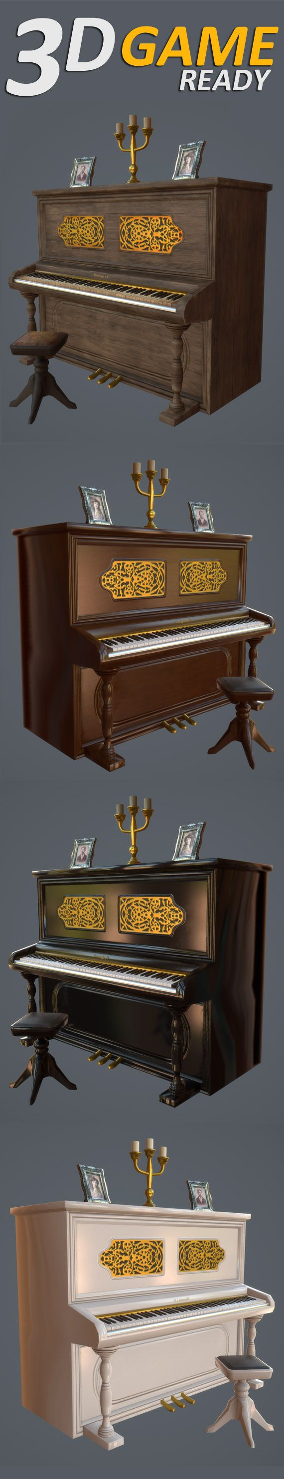 UPRIGHT PIANO. Piano with 4 level of detail + 2 versions with separate keys.  Chandelier, photo frames and chess floor texture included.  4 colors to choose: White, Black, Brown and Old Wood. * 2nd UV channel for Lightmaps.  Textures:  Albedo (.png) AO (.png) Normal Map (.png) Metallic (RGB) + glossy (A) (.tiff)