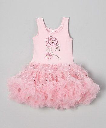Pink Rose Sparkly Dress - Infant, Toddler & Girls