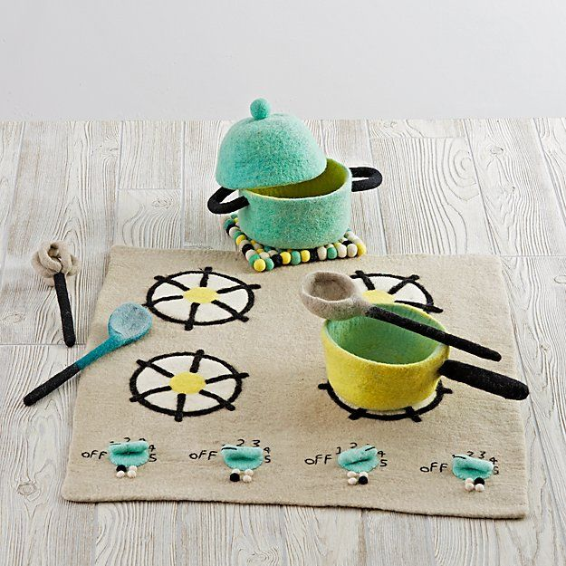 Shop Felt Gourmet Kids Cooking Set.  Serve up a scrumptious meal fit for a restaurant with our Felt Gourmet Plush Cooking Set.  This 8-piece set includes all the utensils a chef needs to create their next make-believe feast.  Gratuity not included.