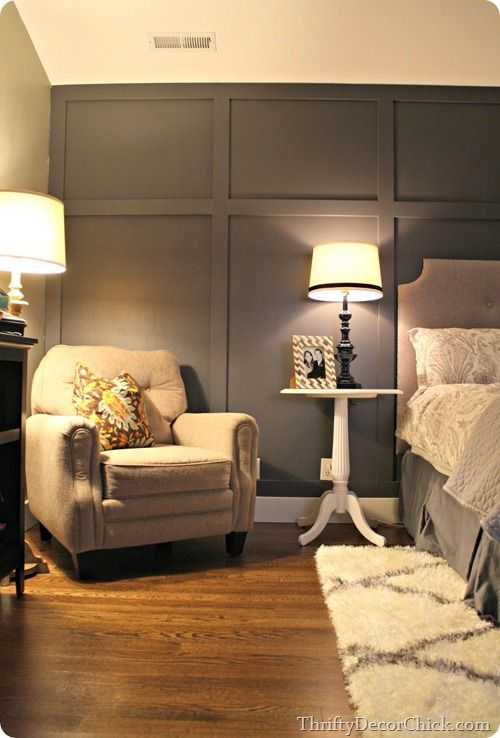 Dark gray accent wall board and batten look master Bedroom ideas grey walls