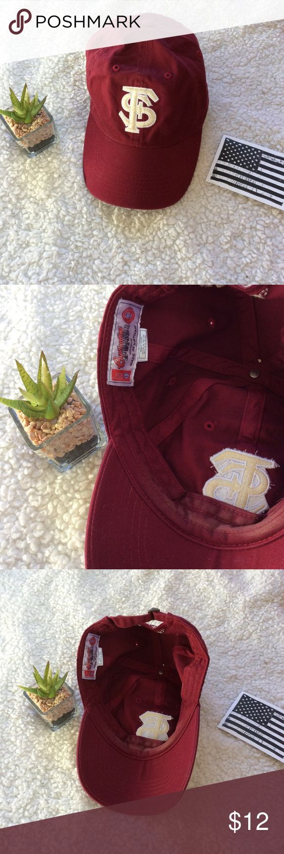 FSU Baseball Cap Garnet and Gold FSU Baseball Hat✨ Adjustable strap to fit most adults! Cheer on the noles with this hat (or hide any bad hair day!) ❤️💛 Accessories Hats