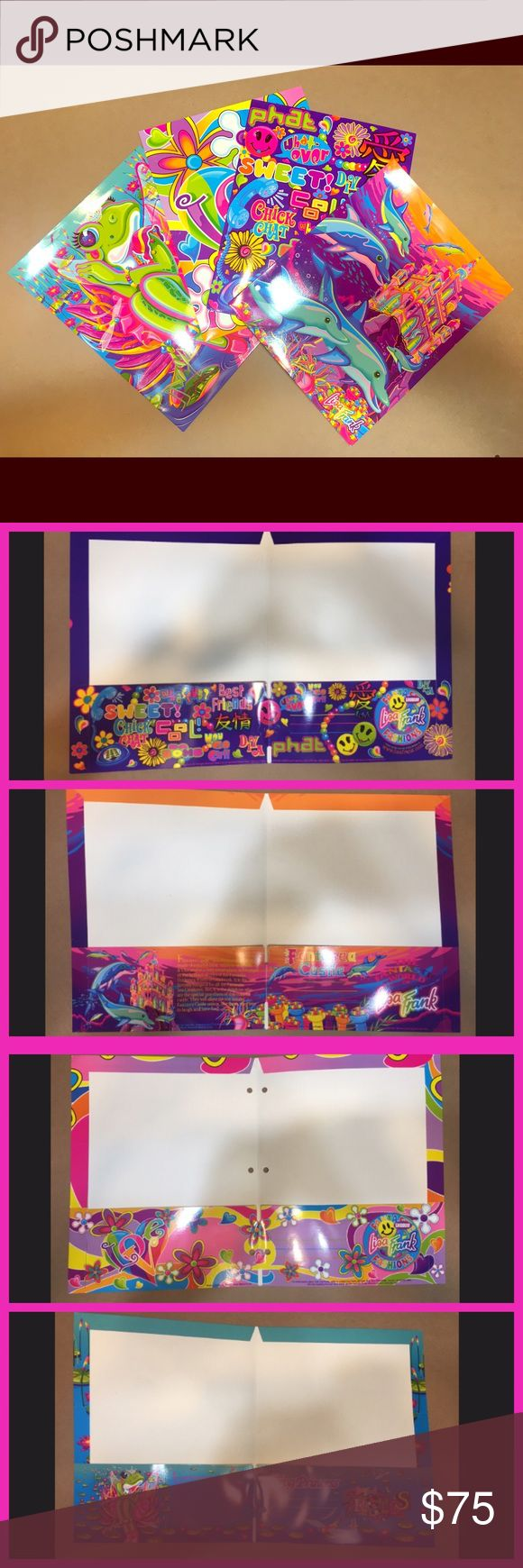 🌈RARE🌈 Vintage Lisa Frank Bundle Set four, 90's Lisa Frank folders. These are brand new with the holes in tact. These are rare, vintage prints that are no longer in production. Accessories