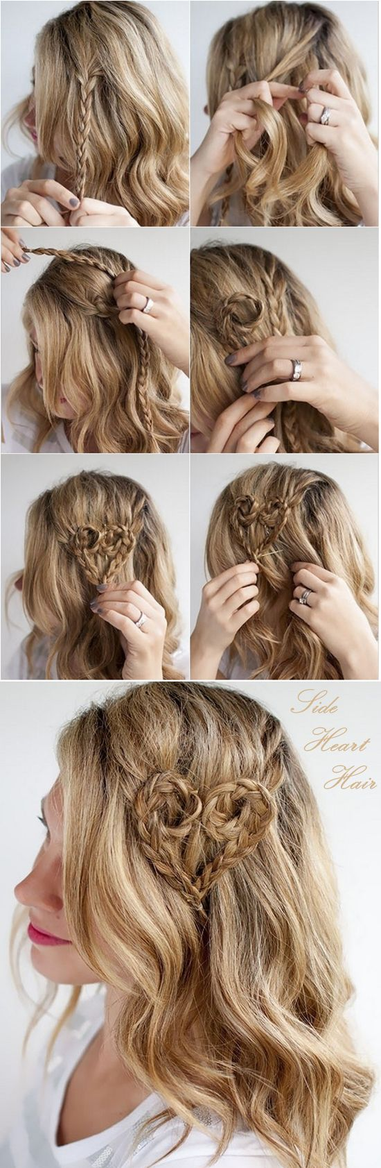 side heart hairstyle with brown ombre color hair extension clip on