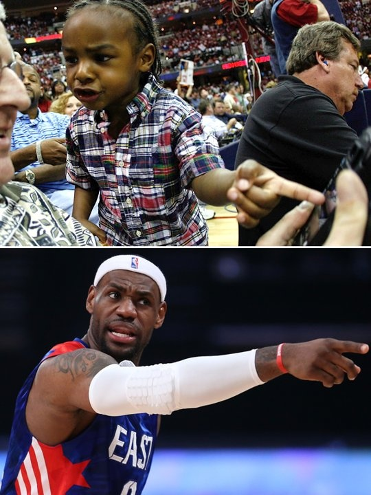 LeBron James Jr. and his dad, NBA player LeBron James. The way parents act and speak conditions their children to behave in similar manners.