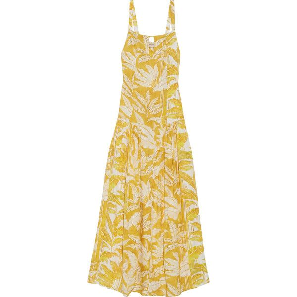 Adriana Degreas Tropical Leaves printed voile maxi dress (945 CAD) ❤ liked on Polyvore featuring dresses, yellow, vintage maxi dresses, multi-color dresses, colorful dresses, keyhole maxi dress and beige maxi dress