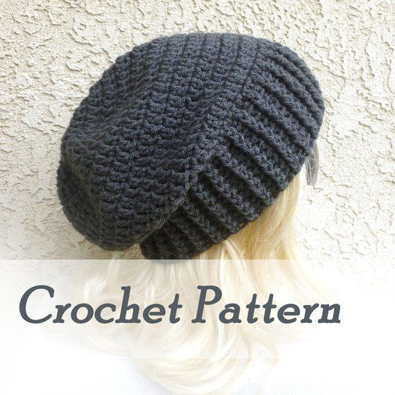 09e340b606a Crochet Pattern Instant Download - Biker Ribbed Slouchy Beanie - Warm  winter mens hat - Detailed Beg