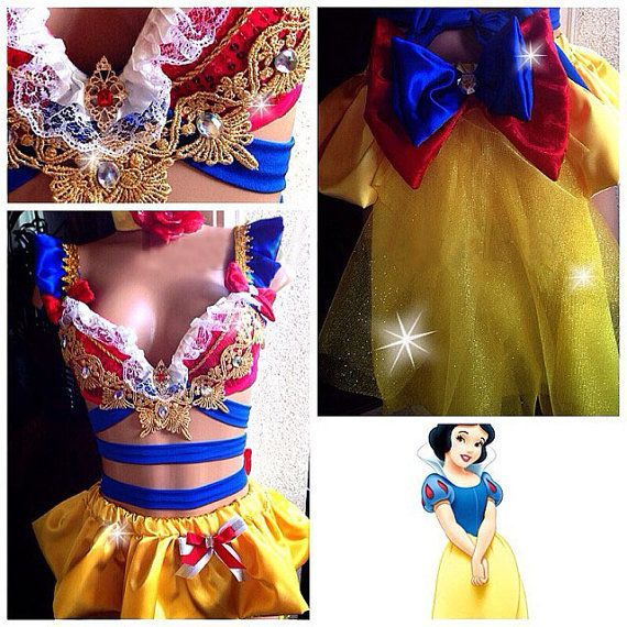 Capped sleeves.  Snow White Inspire Outfit, Top & Bottom Rave Costume Outfit For EDC, Ultra Music, EDM Festivals, Tomorrowland, halloween, PLUR