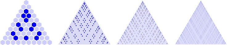I wanted to code the Goldbach triangle myself in Mathematica. A row in this triangle represents an integer, and every cell in the row represents a way to write it as a sum of two smaller integers. The red diagonals correspond to the prime numbers. Goldbach's conjecture, which states that every even integer can be represented as a sum of two primes, translates into the statement that every second row in the triangle contains at least one marked cell.