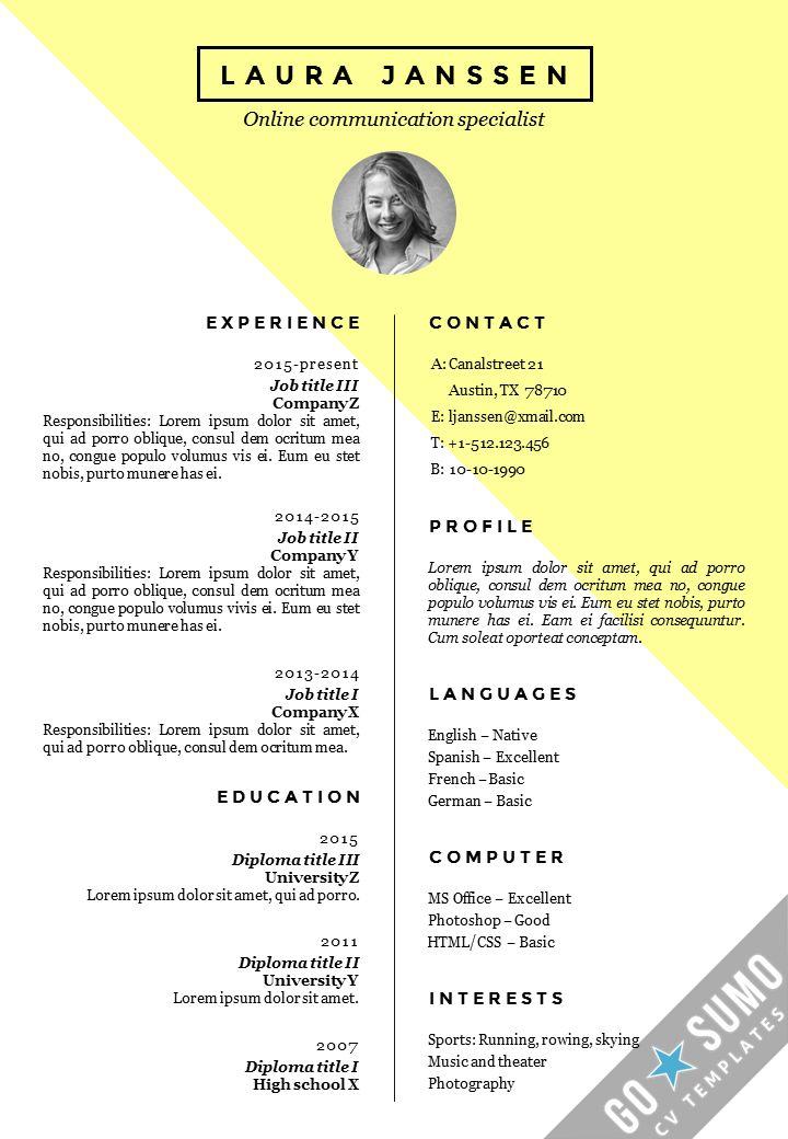 As 50 melhores imagens em Go Sumo CV templates Resume - editable resume template