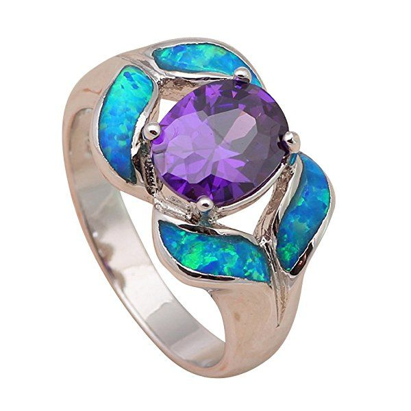 T-Jewelry Fashion Purple Amethyst Crystal Blue Fire Opal Jewelry Ring Silver Plated Ring For Women Rings (8)