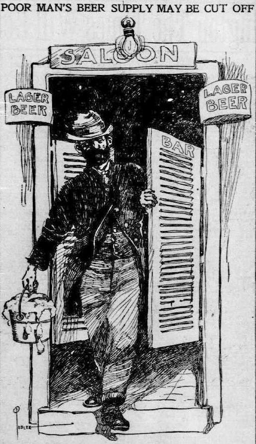 Cartoon From Washington Times Featuring A Bucket Of Beer C 1905