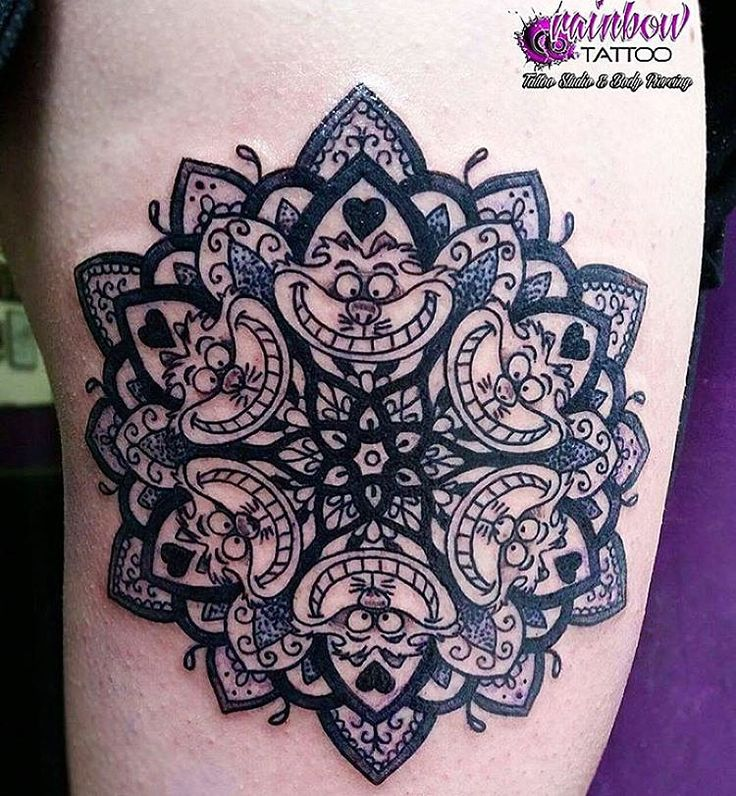 So sick!! Awesome Tattoo Cheshire Cat mandala piece done by @maryvonbloody at @rainbow_tattoo #inkeddisney mandala tattoo