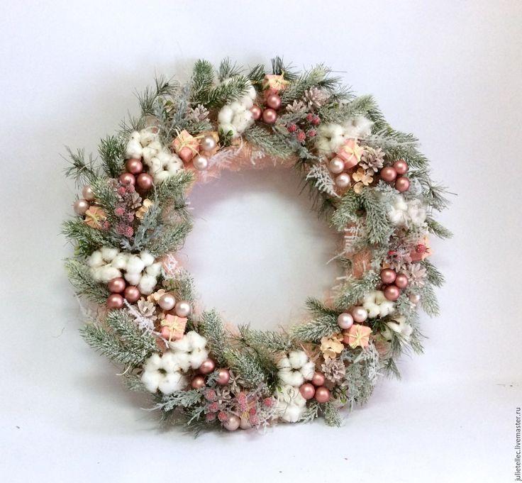Купить Розовый венок - бледно-розовый, венок на дверь, рождественский венок, розовый венок, шебби