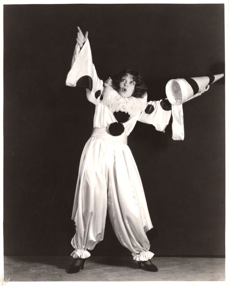 """clarabowarchive: """" Clara Bow flapper clown, circa 1929. Typed on reverse: """" SHADES OF PAGLIACCI —-Clara Bow becomes a circus clown for """"Dangerous Curves"""", her new Paramount all-talking picture. """" """""""