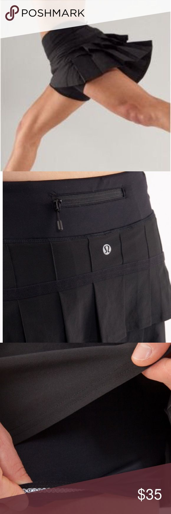 """Lululemon Run: Pace Setter Skirt - Black Size 6 Lululemon Run: Pace Setter Skirt Black  Swift fabric is lightweight, moisture-wicking w/ 4-way stretch thick Luxtreme waistband won't dig in secure zipper pocket on back waistband for cards and keys; two gel pockets for mid-race snacking built-in shorts made of moisture-wicking Luxtreme for maximum comfort sticky elastic on the hem limits stops your shorts from rolling up mid-run just say no to chafing with flat seams front length: 12 1/4"""" back…"""