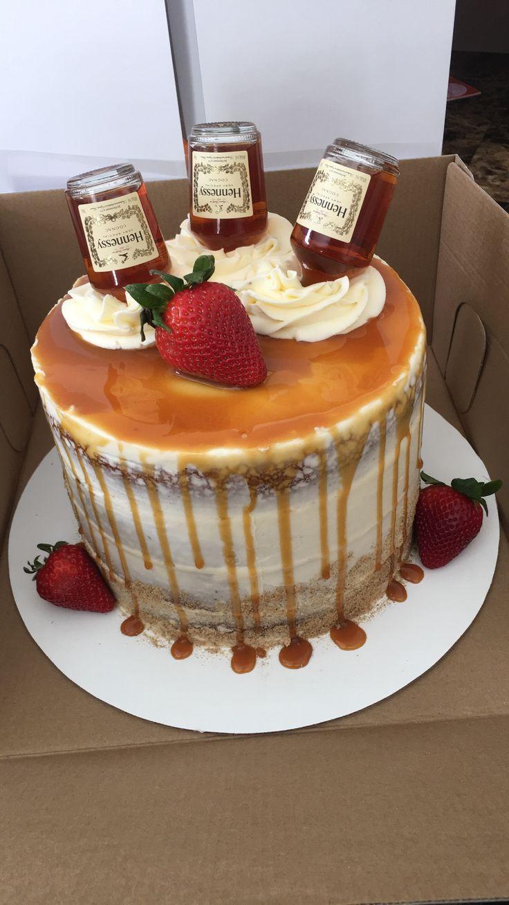 Hennessy Infused Caramel Drip Cake Liquor cake, Alcohol cake
