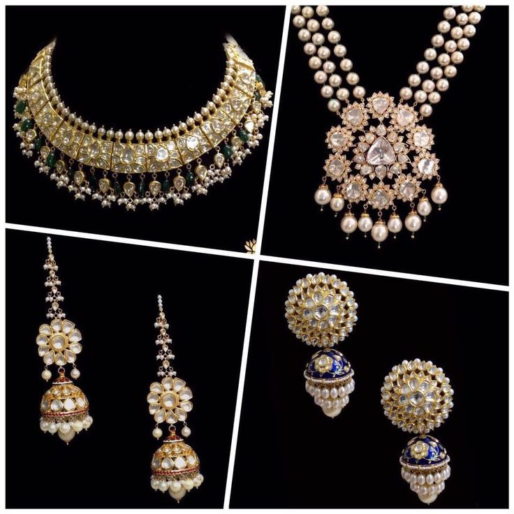 Polki and pearls, necklace and earrings. #beautiful