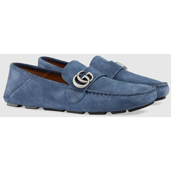 Gucci Suede Driver With Double G ($530) ❤ liked on Polyvore featuring men's fashion, men's shoes, men's loafers, gucci mens shoes, mens driver shoes, mens suede driving shoes, mens driving shoes and mens suede shoes