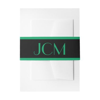 Shamrock Green Stripe Monogram Initials on Black Invitation Belly Band - stripes gifts cyo unique style