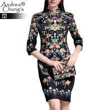 2015 весна осень дизайнер женские платья стройный 3/4 рукав желтый голубой винтаж цветочным принтом мода винтажное платье бренда(China (Mainland))