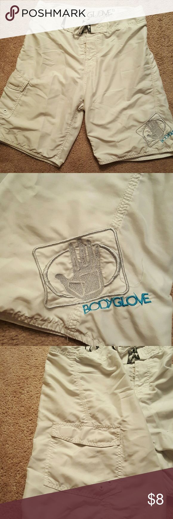 2 Men's bodyglove board shorts sz 28 (S/M) Gently worn men's swim board shorts with side pocket, velcro & tie closure. 4 way stretch with back zip pocket. Great condition.  (Can buy 1 for $5 of want, leave in comments) Body Glove Swim Board Shorts